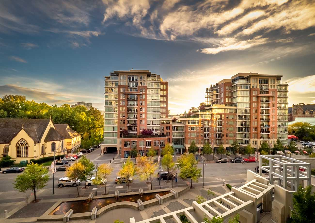 view from two bedroom, two bath suite in downtown Victoria
