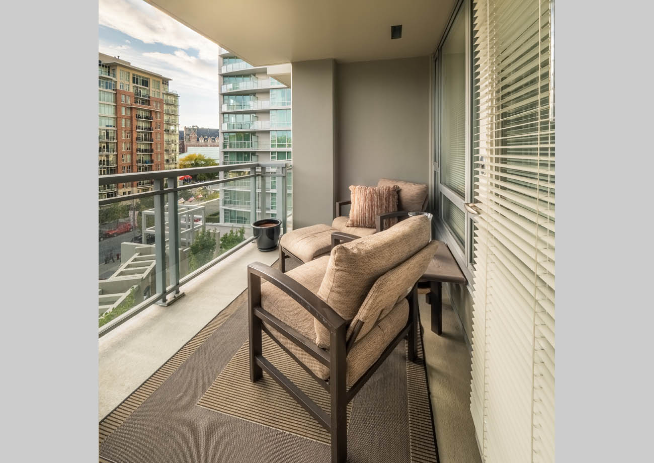 balcony at two bedroom, two bath downtown suite