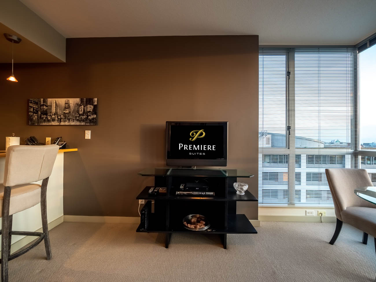 Furnished apartment suite living room with TV