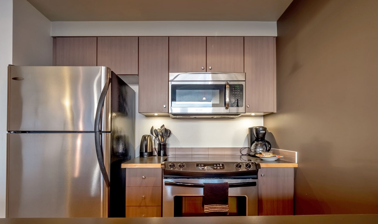 Condo kitchen with full size appliances