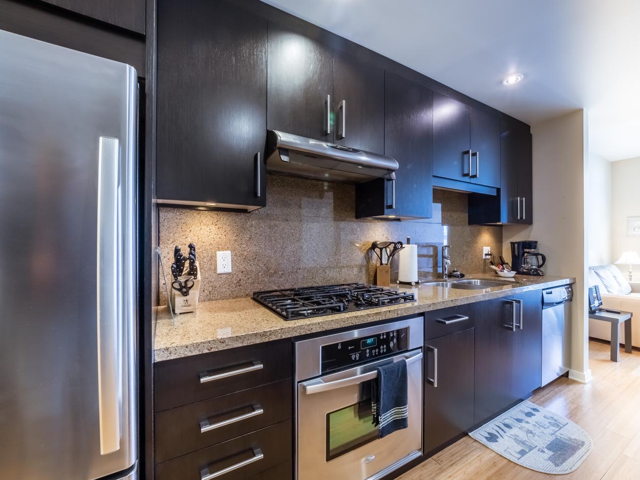 condo kitchen stainless steel appliances