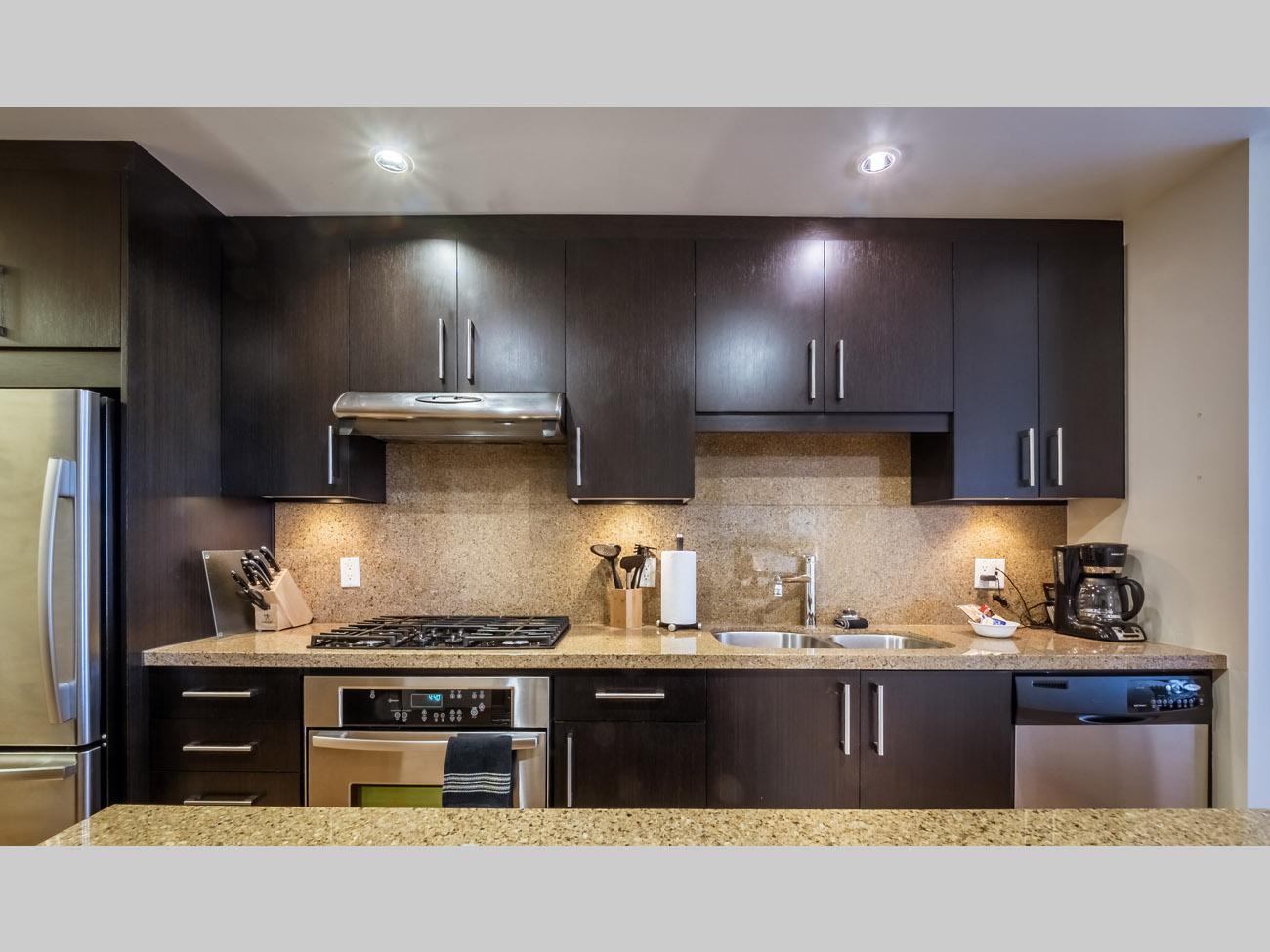 Dockside Green condo kitchen granite countertops