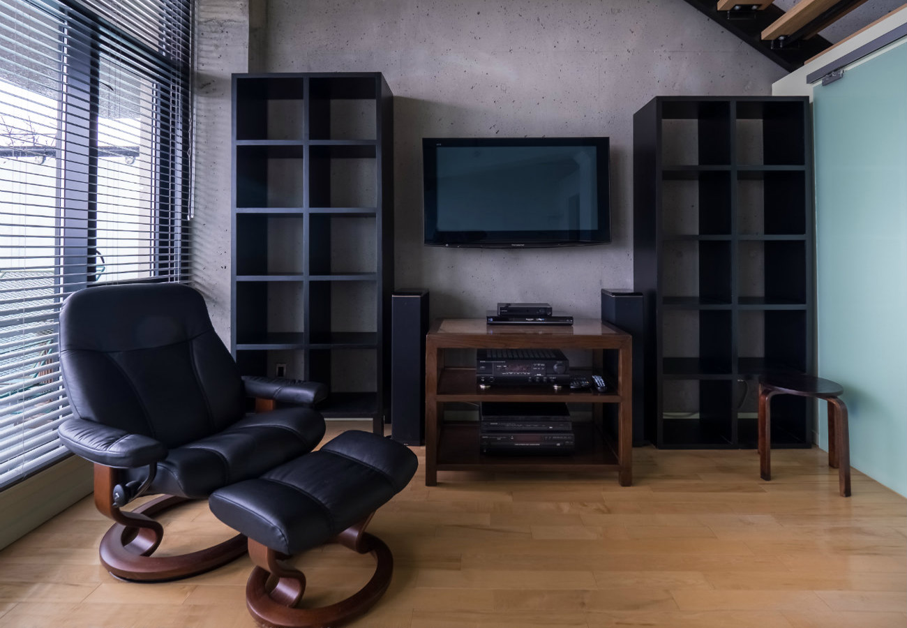 Master bedroom, entertainment unit, penthouse unit