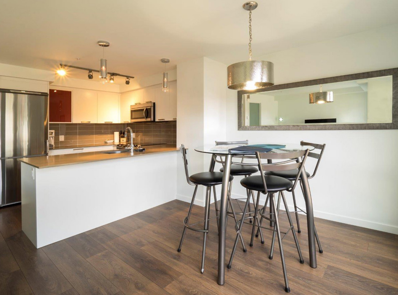 Bar height table and chairs dining area kitchen