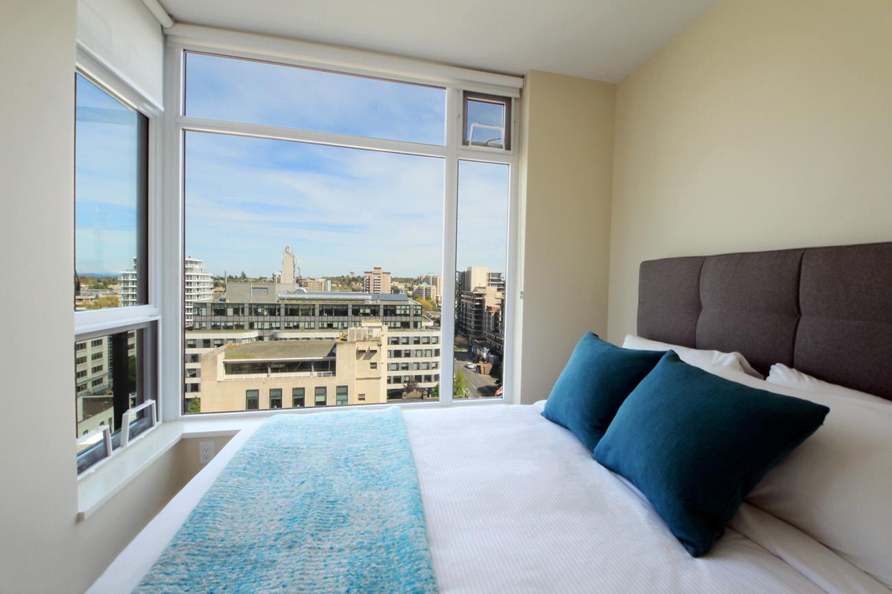 Era condo guest bedroom with view of Victoria