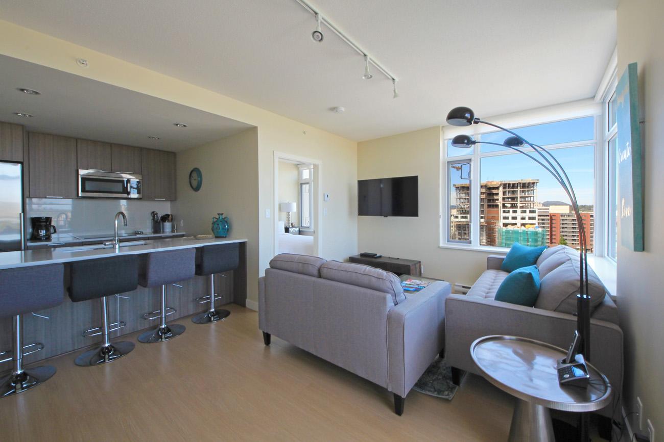 Era condo open concept kitchen living room Victoria