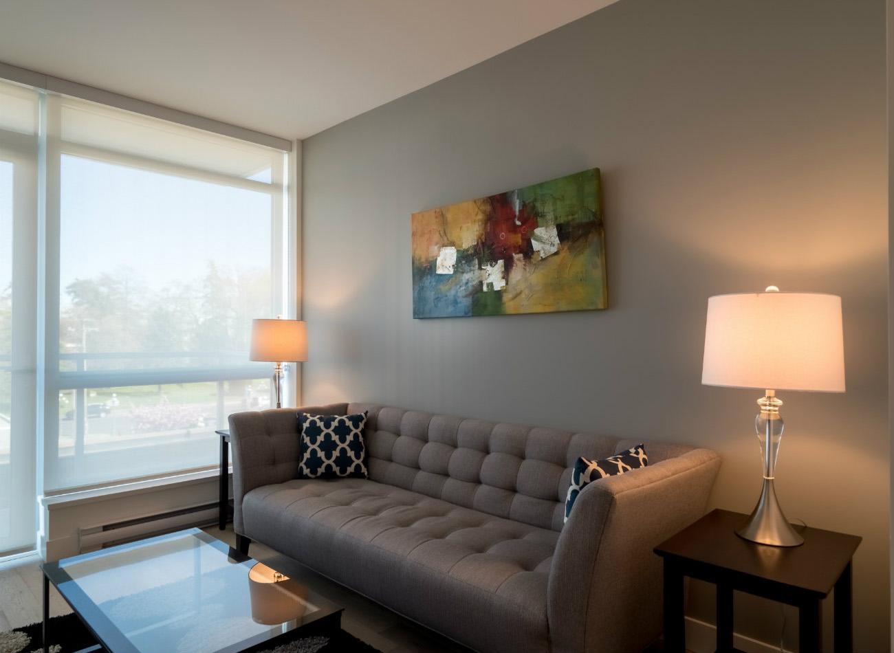 Escher condo living room Victoria