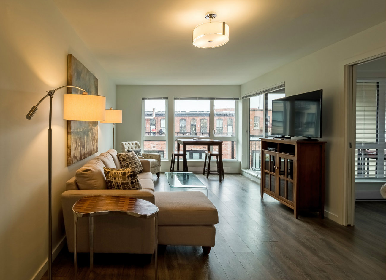 Union modern suites open concept living room