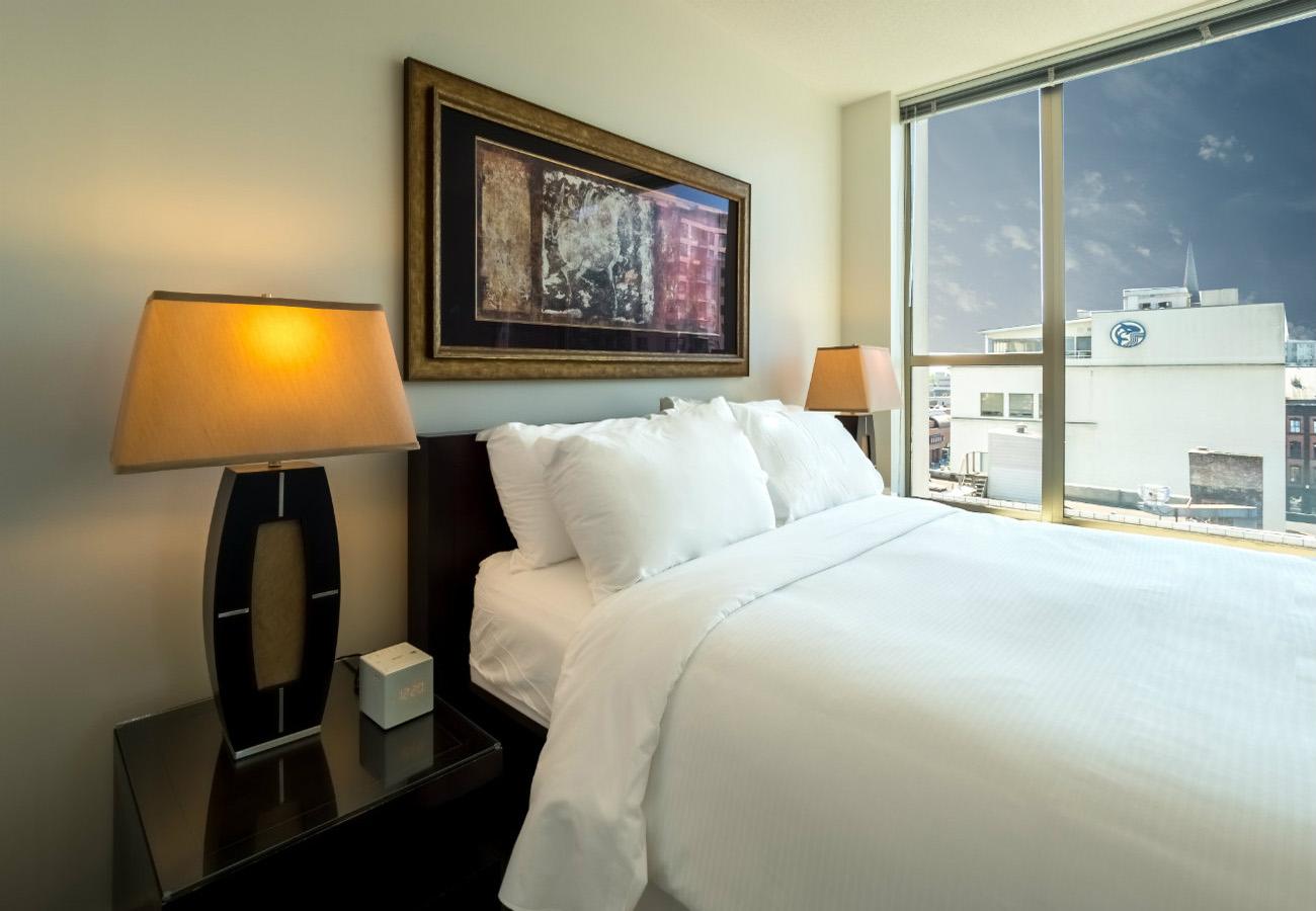 Bedroom executive rental at the Juliet condo Victoria
