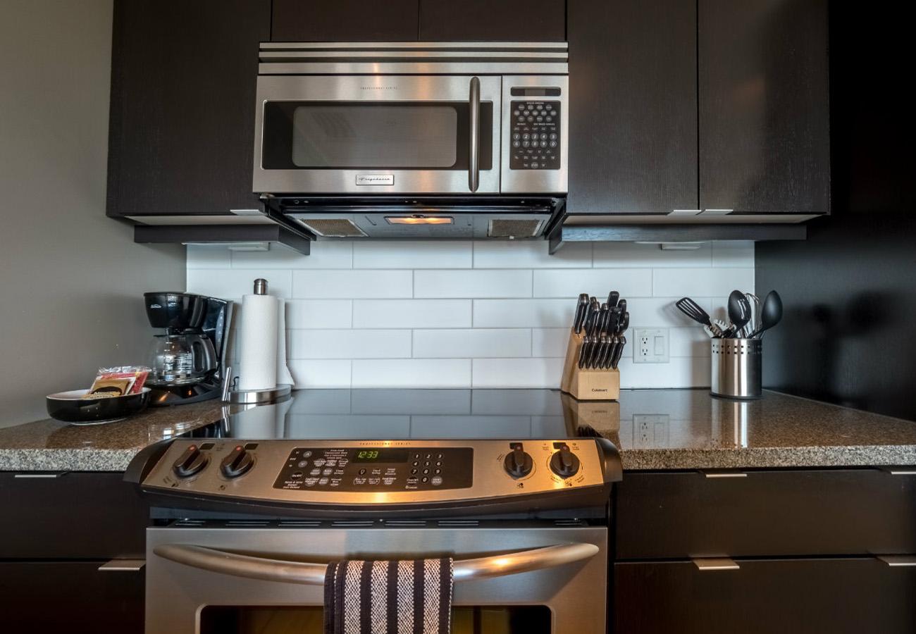 Kitchen flat top stove executive rental Victoria