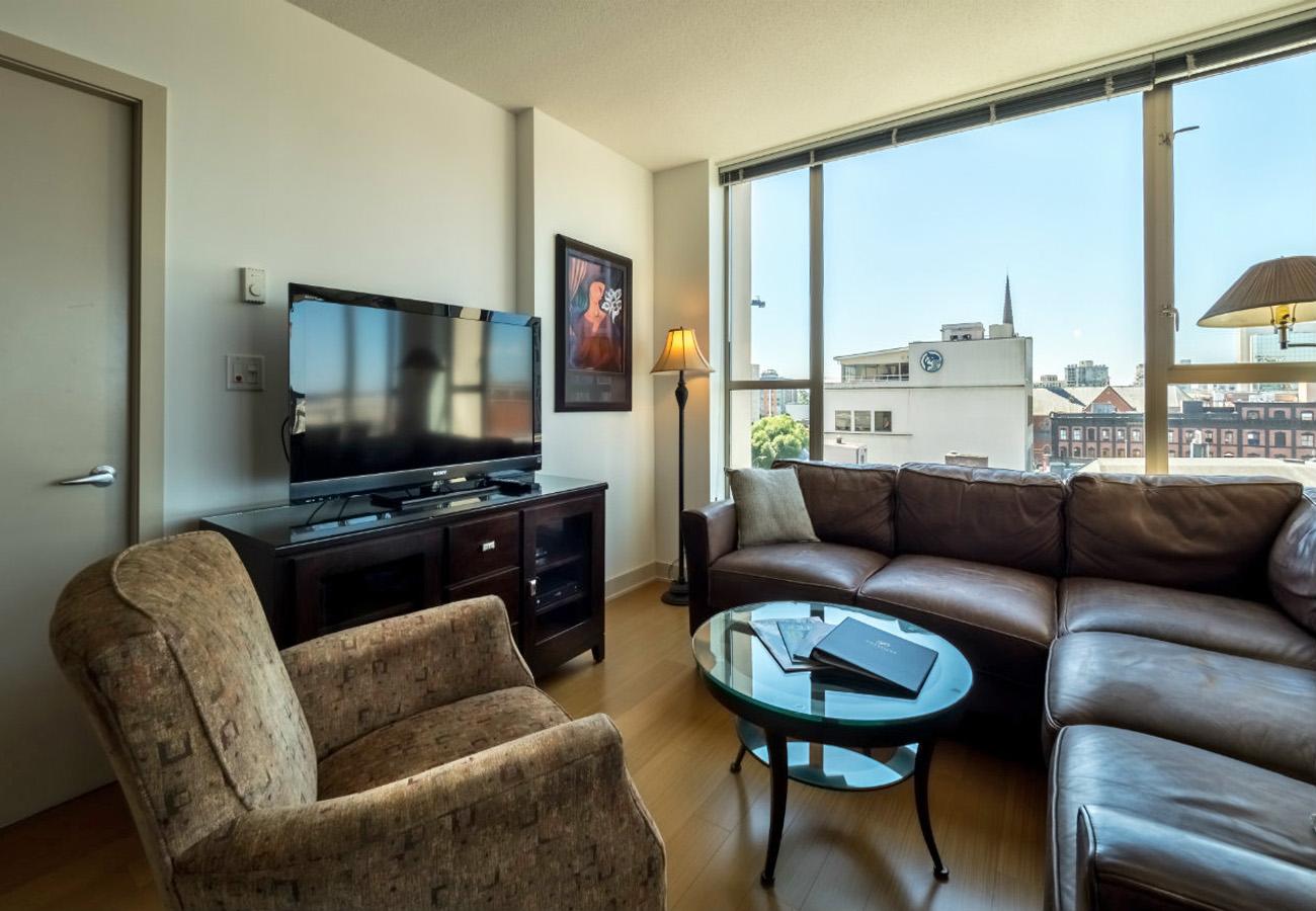Living room executive rental at the Juliet condo Victoria