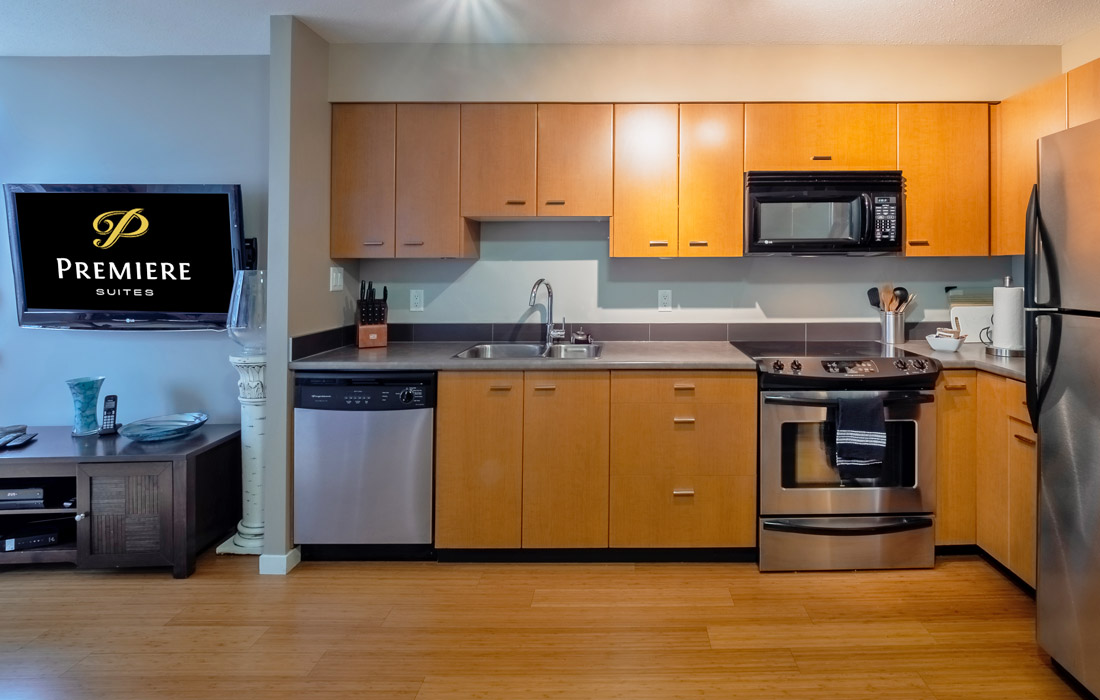 Astoria condo kitchen stainless steel appliances