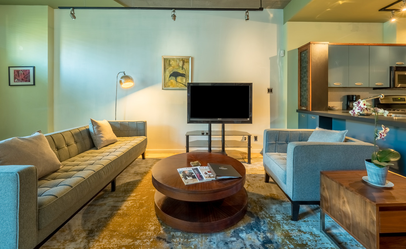 Victoria townhouse living room flatscreen TV