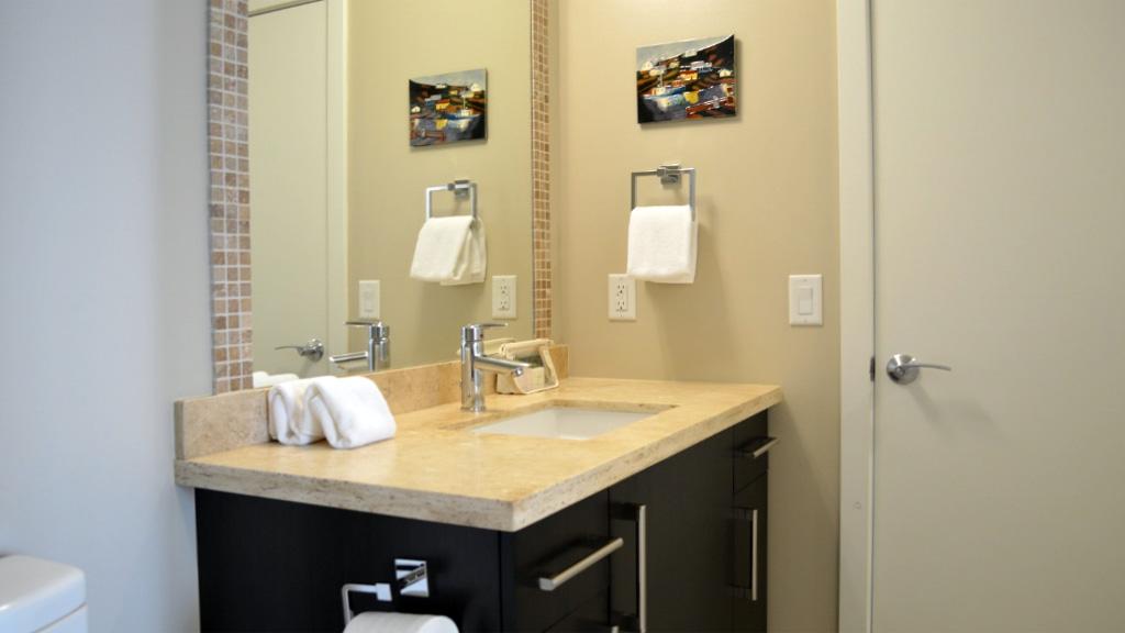 one bedroom suite bathroom dockside green victoria