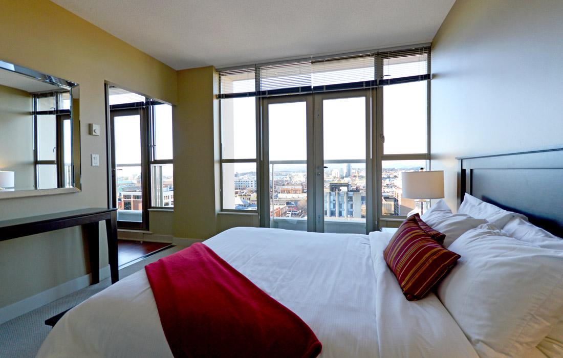 Victoria condo bedroom with juliet balcony