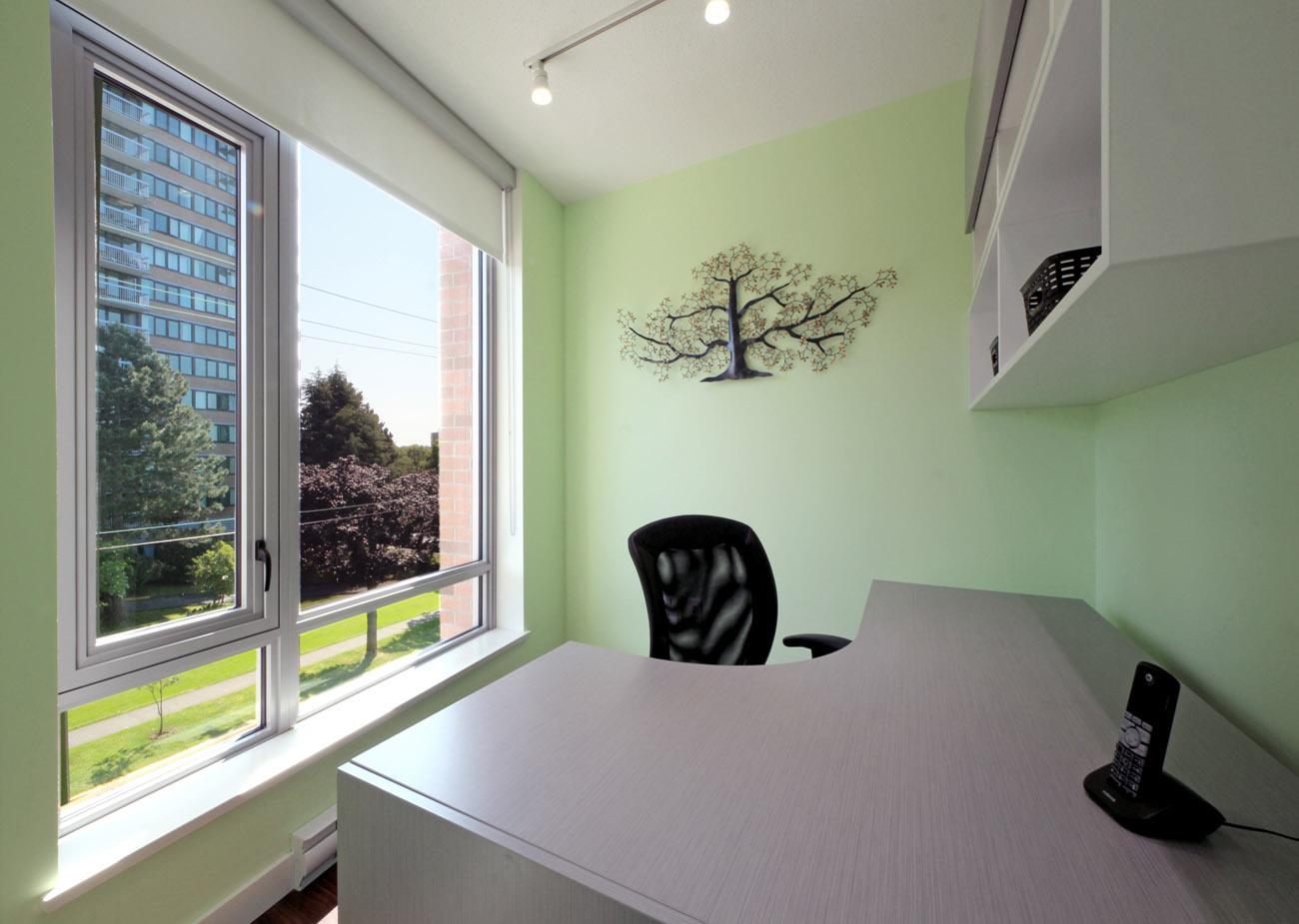 Bright office with corner desk