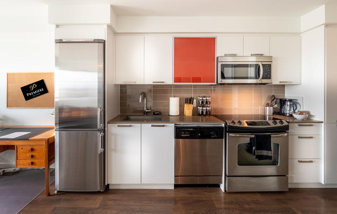 Kitchen stainless steel appliances Union boutique condo Victortia