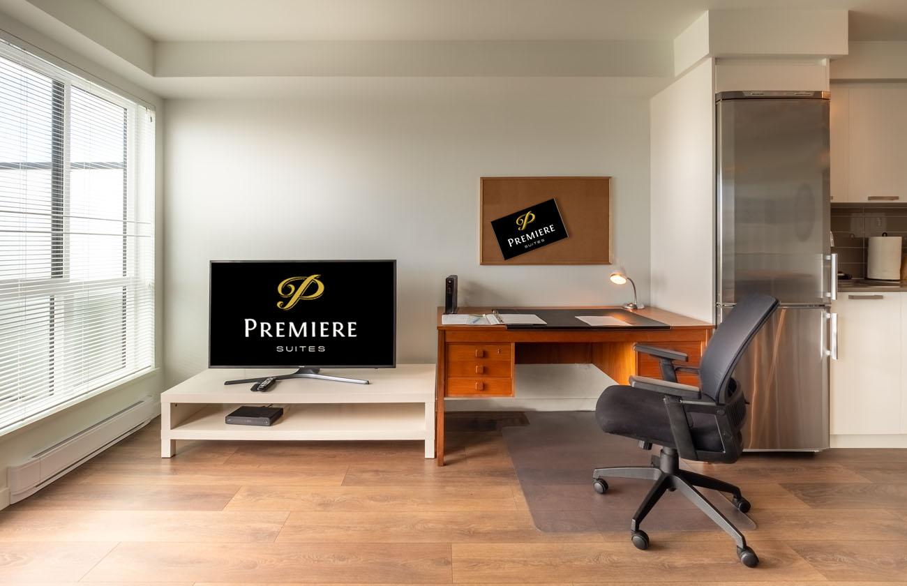 Flatscreen TV work station in boutique condo