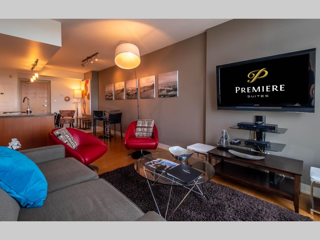 downtown suite living room flatscreen TV