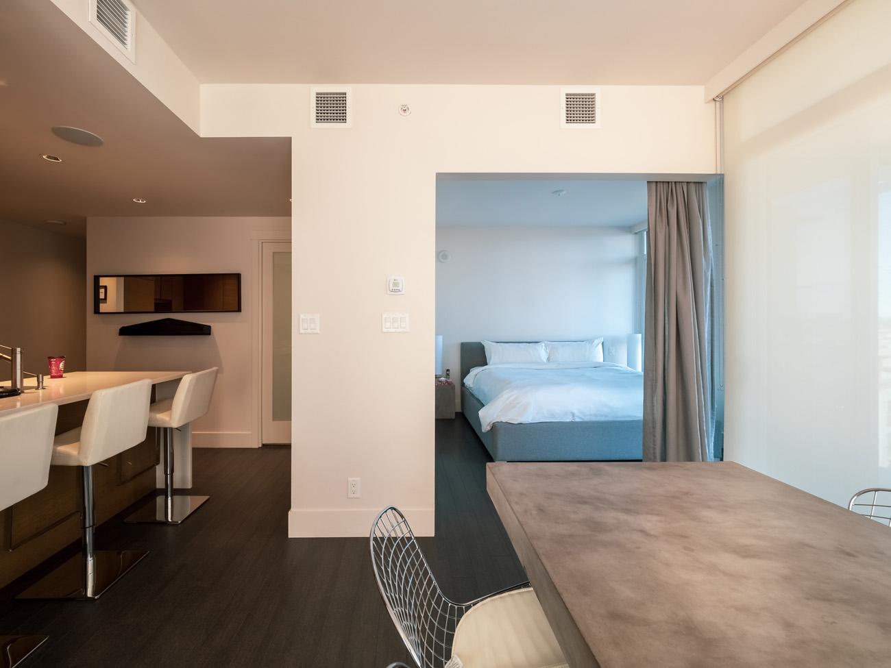 open concept living space high rise condo Promontory Victoria