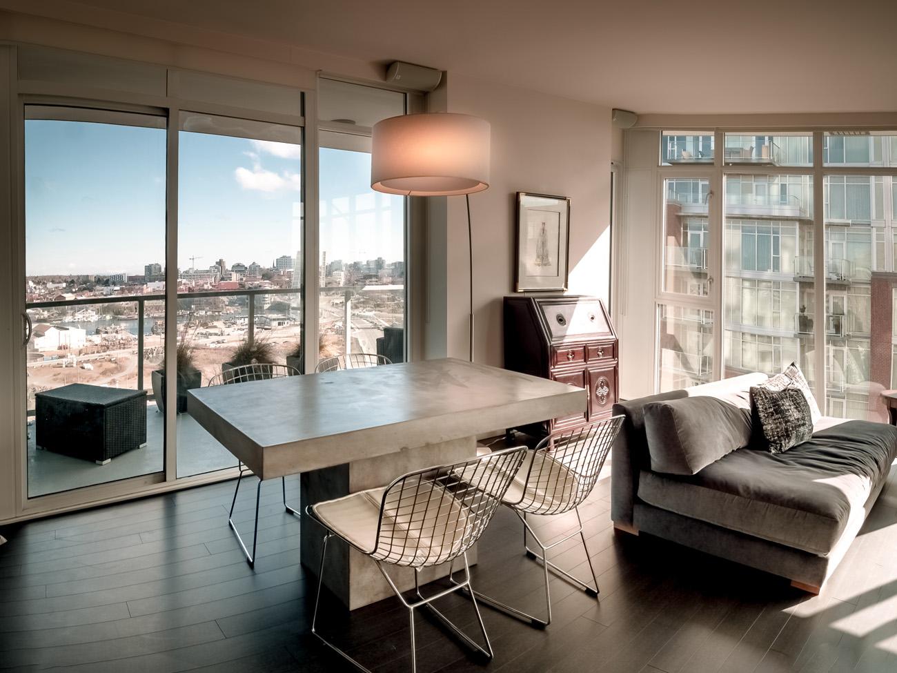 modern open concept condo with views