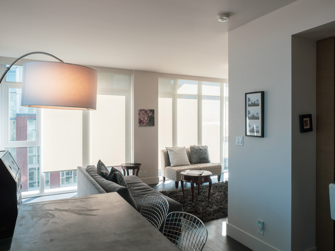 modern high rise suite with concrete table