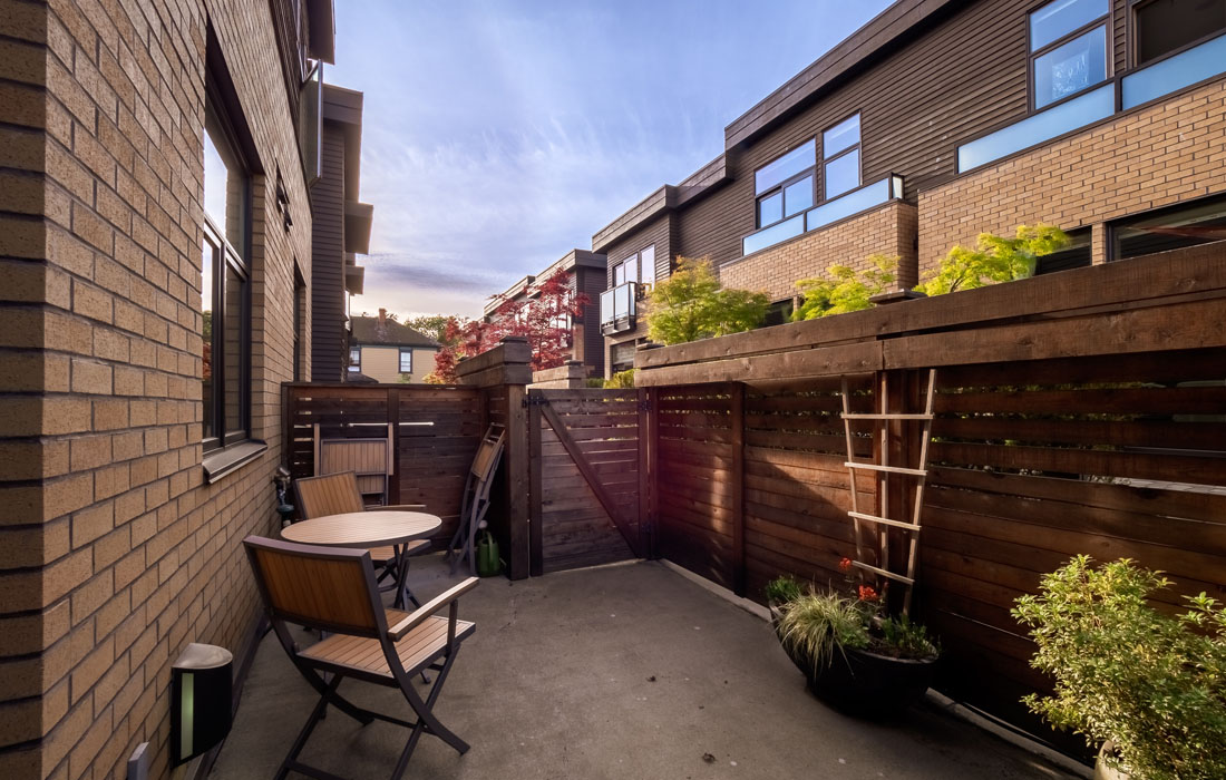 Executive townhouse terrace with patio furniture