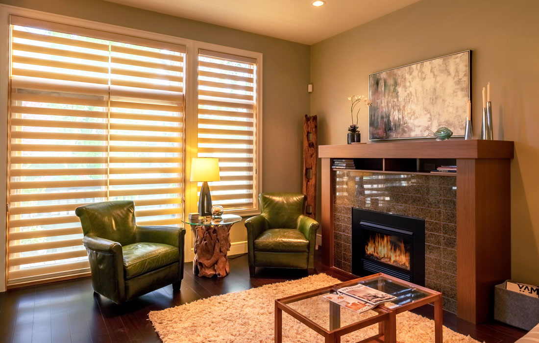Executive townhouse living room with fireplace