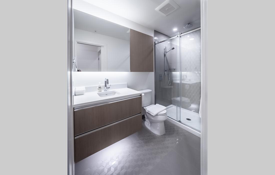 Black and White condo bathroom