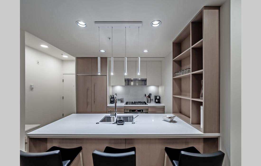 Black and White condo front kitchen