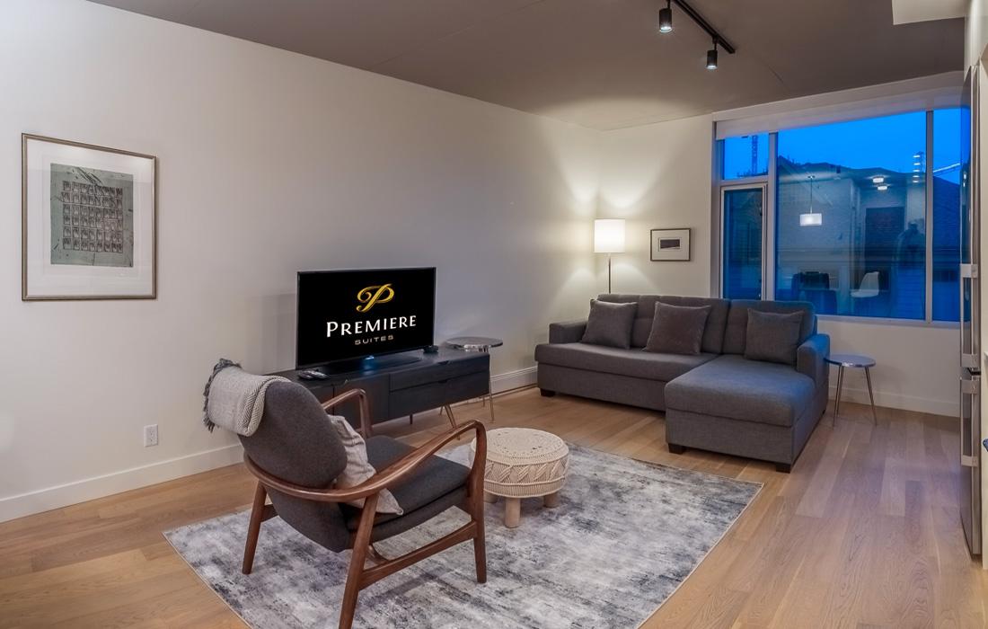 Living room in open concept victoria condo