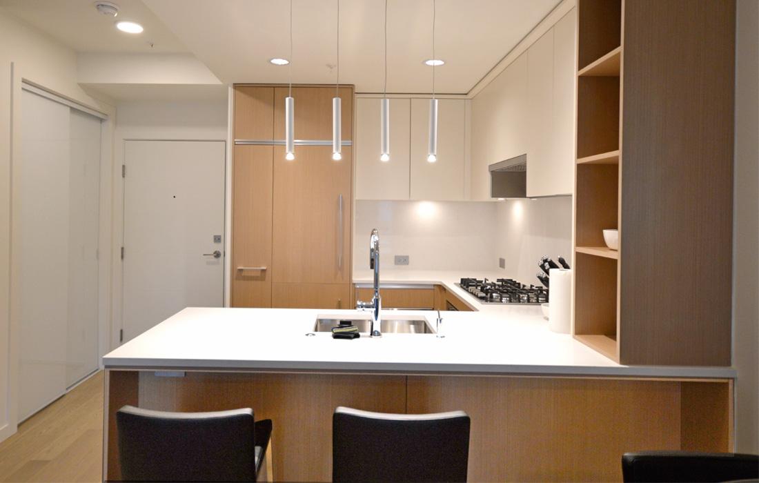 Black and White 307 suite kitchen quartz countertops