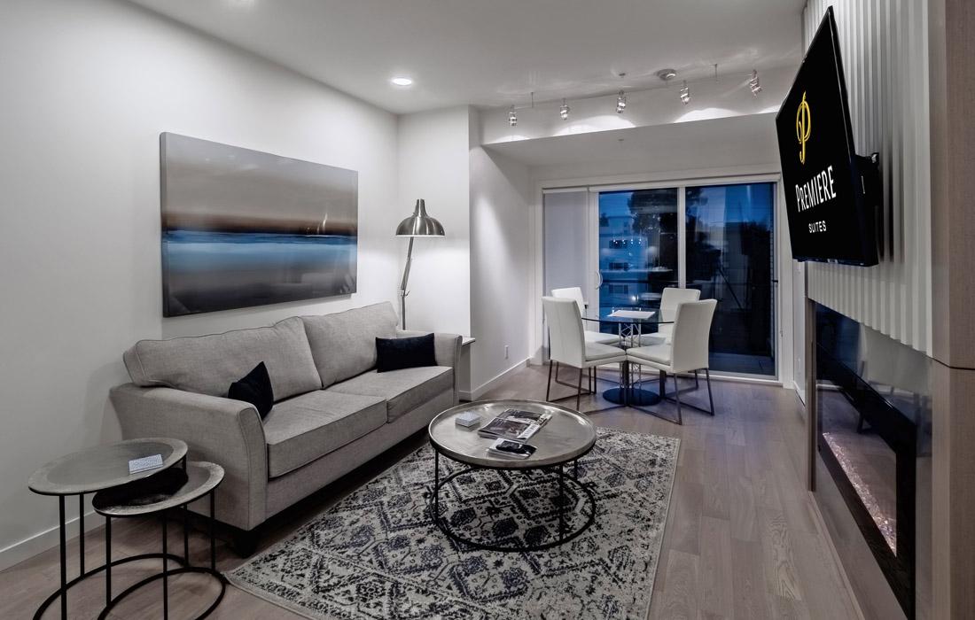 Black and White living room angled
