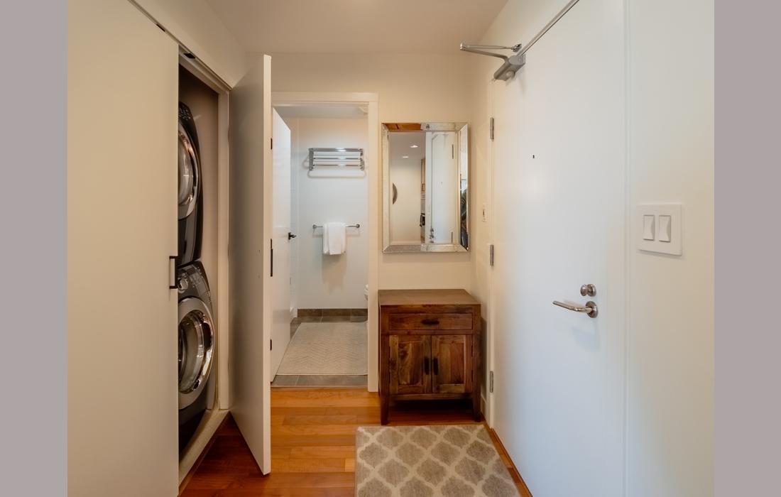 Belvedere 1101 hallway with laundry